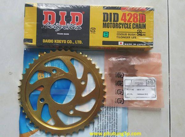 Full bộ NSD DID130 mắt, dĩa sắt RECTO size T43, T44, nhông Hodaka 14 cho suzuki Fx, Raider 150, Satria F150